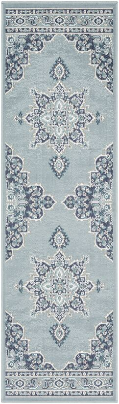 Hsieh Floral Charcoal/Aqua Indoor/Outdoor Area Rug Rug Size: Runner 2'3