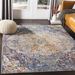 Sam Distressed Vintage Blue/Saffron Area Rug Rug Size: Rectangle 5'3