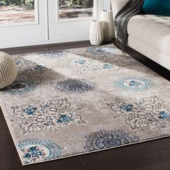 Kent Distressed Contemporary Taupe/Blue Area Rug Rug Size: Rectangle 2' x 3'