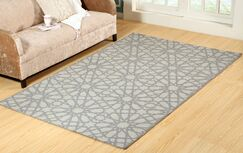Harner Hand-Woven Wool Silver Area Rug Rug Size: Rectangle 8' x 11'