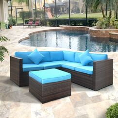 Lilith Patio Sectional with Cushions Color: Blue