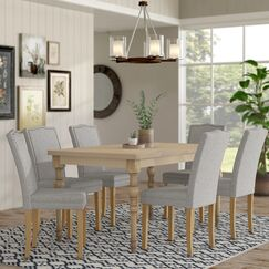 Edeline Country Styled 7 Piece Dining Set with Round Carved Legs Chair Color: Light Gray