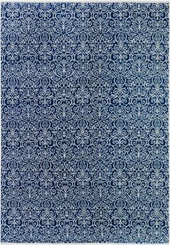 One-of-a-Kind Andreas Hand Knotted Wool Navy/Cream Area Rug