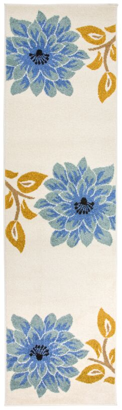 Kaliyah Floral Large Blue/Cream Area Rug Rug Size: Runner 2' x 7'