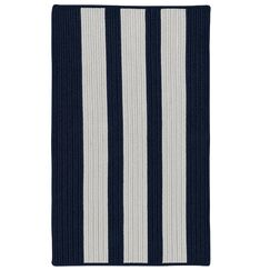 Wes Vertical Stripe Hand-Braided Gray/Navy Pier Indoor/Outdoor Area Rug Rug Size: Rectangle 8' x 10'