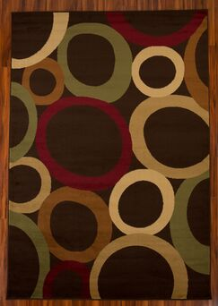 ClipperCove Circle Brown Area Rug Rug Size: Rectangle 7' x 10'