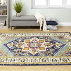 Reuben Colorful Gray/Green Area Rug Rug Size: 2'0'' x 7'7''