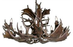Prather Fallow 12-Light Novelty Chandelier Finish: Black Chain/Natural Brown Antlers, Shade Color: Parchment, Size: 24