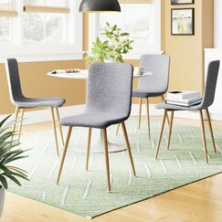 Amir Upholstered Dining Chair Leg Color: Natural, Upholstery Color: Gray