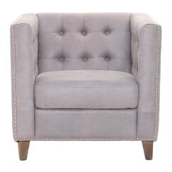 Mohammed Leatherette with Tufted Back and Nail Head Detail Club Chair