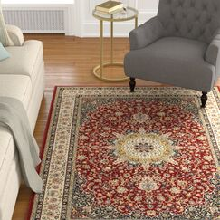 Knighten Classic Medallion Red/Ivory Area Rug Rug Size: Rectangle 9'10