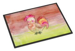 Billie Rooster Watercolor Doormat