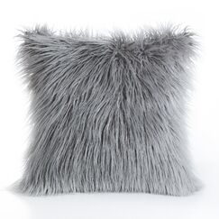 Birchwood Indoor/Outdoor Faux Fur Pillow Cover Color: Gray