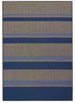 San Diego CK730 Striped Handwoven Flatweave Beige/Cobalt Area Rug Rug Size: Rectangle 4' x 6'