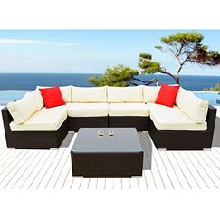 Arwen 7 Piece Rattan Seating Group with Cushions Cushion Color: Off White