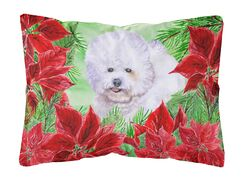 Issleib Bichon Frise Poinsettas Fabric Indoor/Outdoor Throw Pillow