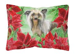 Freelon Chinese Crested Poinsettas Indoor/Outdoor Throw Pillow