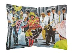 Kemp Dancing in the Streets Mardi Gras Fabric Indoor/Outdoor Throw Pillow