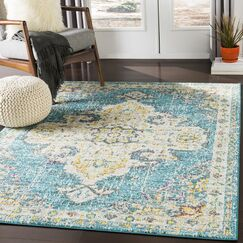 Berry Blue/Beige Area Rug Rug Size: Rectangle 2' x 3'