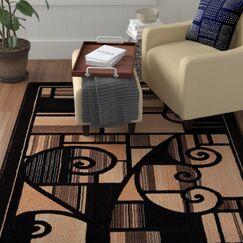Harshaw Black Area Rug Rug Size: Rectangle 2' x 3'