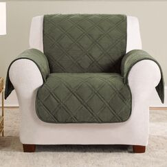 Triple Protection FC Box Cushion Armchair Slipcover Upholstery: Olive