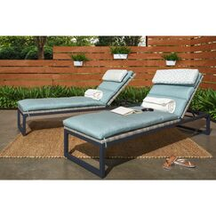 Gary Reclining Chaise Lounge with Cushion Cushion Color: Spa Blue, Frame Color: Espresso