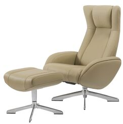 Castle Maya Swivel Lounge Chair and Ottoman Upholstery: Ivory