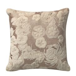 Sweet Velvet Floral Embroidery Deco Cotton Throw Pillow Color: Ivory