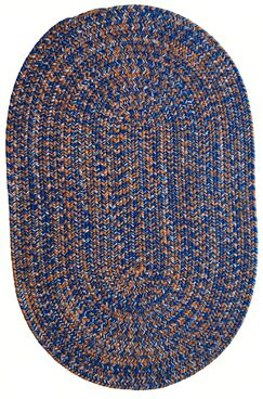 One-of-a-Kind Aukerman Hand-Braided Blue/Orange Indoor/Outdoor Area Rug Rug Size: Oval 3' x 5'