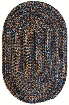 One-of-a-Kind Aukerman Hand-Braided Navy/Orange Indoor/Outdoor Area Rug Rug Size: Oval 4' x 6'