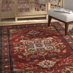 Shelie Mahal Red/Beige Area Rug Rug Size: Rectangle 5' x 7'6