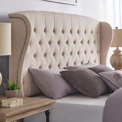 Upholstered Wingback Headboard Color: Beige, Size: Queen