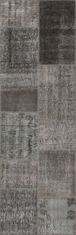 Aleta Antique Patchwork Hand-Knotted Gray Area Rug Rug Size: Runner 2'7