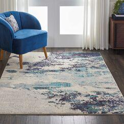 Velva Ivory/Blue Area Rug Rug Size: Round 5'3