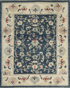 One-of-a-Kind Hand-Knotted Wool Navy Area Rug