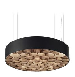 Spiro LED Drum Pendant Finish: Black Outer, Size: Medium, Shade Color: Natural Cherry