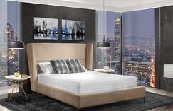 Leni Upholstered Platform Bed Color: Beige, Size: Queen
