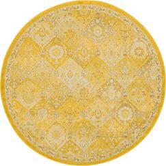 Ernst Yellow Area Rug Rug Size: Round 6'