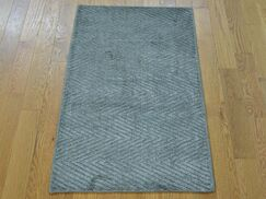 One-of-a-Kind Bean Art Handwoven Grey Silk Area Rug