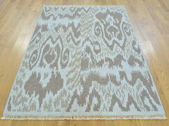 One-of-a-Kind Blassingame Soumak Ikat Design Handwoven Gray Wool Area Rug