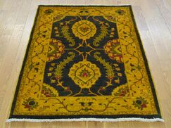 One-of-a-Kind Beaumont Mahal Design Hand-Knotted Black Wool Area Rug