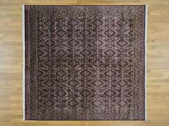 One-of-a-Kind Bean Geometric Design Hand-Knotted Red Wool Area Rug