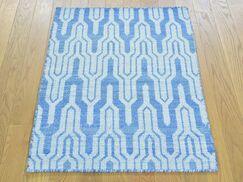 One-of-a-Kind Bottorff Reversible Handmade Kilim Blue Wool Area Rug