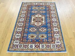 One-of-a-Kind Bechtold Denim Tribal Design Handwoven Blue Wool Area Rug