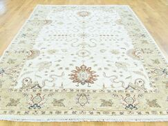 One-of-a-Kind Beaumont Ziegler Mahal Handwoven Ivory Wool Area Rug