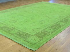 One-of-a-Kind Beaumont Overdyed Lime Handwoven Green Wool Area Rug