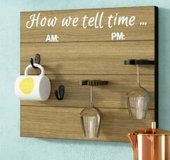 Vosburg How We tell Time Wooden Coffee/Wine Glass Rack Finish: Brown