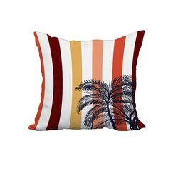 Tate Thin Stripe Palm Print Throw Pillow Size: 20