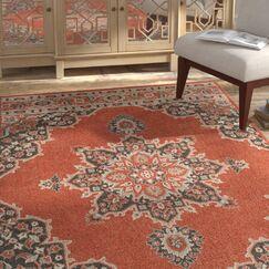 Dutcher Floral Burnt Orange/Black Indoor/Outdoor Area Rug Rug Size: Rectangle 8'9