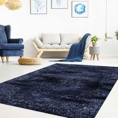 Champion Traditional Navy/Ivory Area Rug Rug Size: Rectangle 5'3